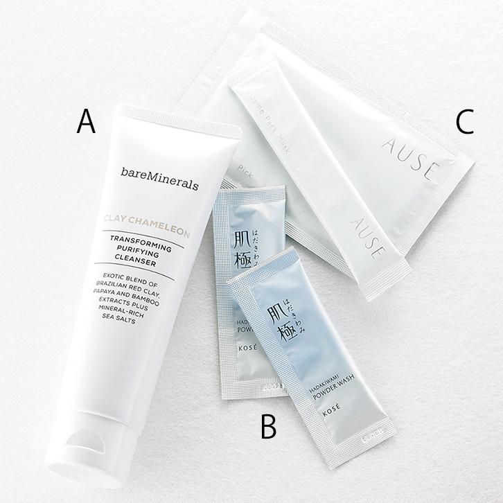 クレイカメレオン トランスフォーミング クレンザー,ベアミネラル,肌極 はだきわみ つるすべ素肌洗顔料,AUSE ピックアップクリーム,AUSE ピックアップマスク