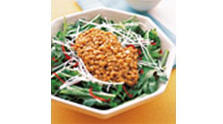 水菜と春菊の納豆ドレッシング