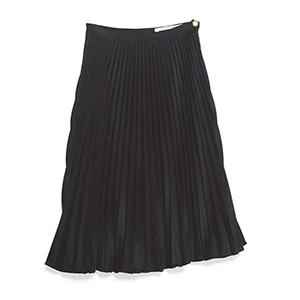 ブラックフェイクスエードプリーツスカート