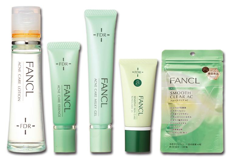 FANCL,ファンケル,FDR アクアケア 化粧液,FDR アクネケア エッセンス,アクネケア ジェル乳液,乾燥敏感肌ケア サンガード25,スムースクリアAC