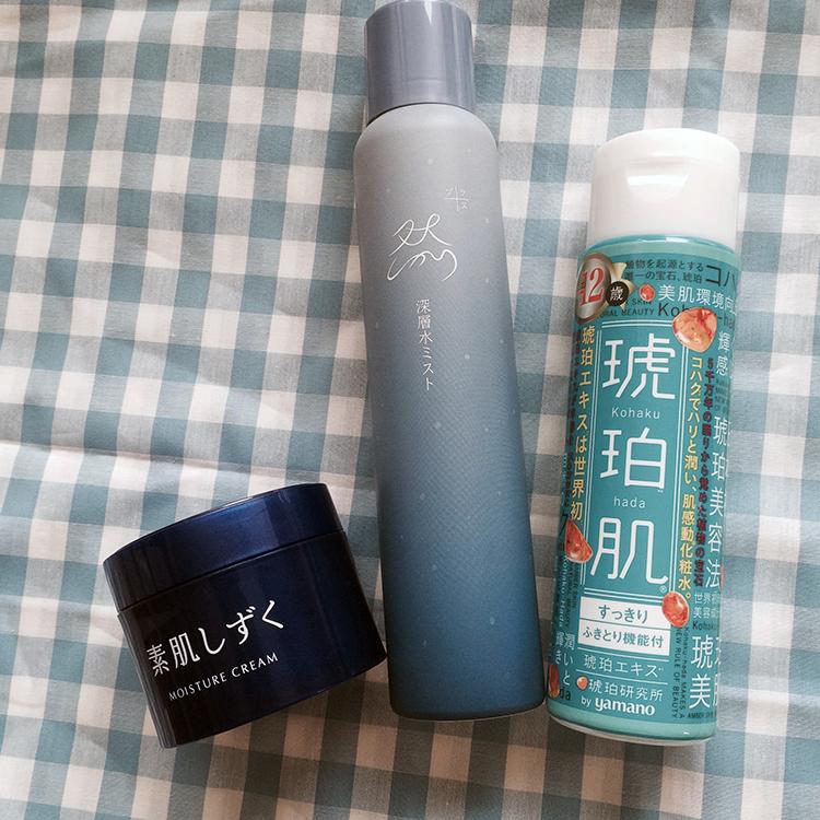 琥珀研究所 by ヤマノ 琥珀水 化粧水 すっきり,長寿の里 然プラスーしかりプラスー深層水ミスト,アサヒフードアンドヘルスケア 素肌しずく 保湿クリーム,