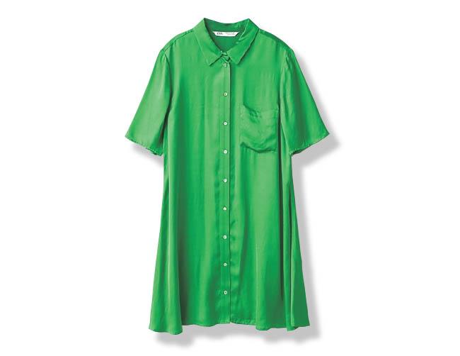 サテンロングシャツ