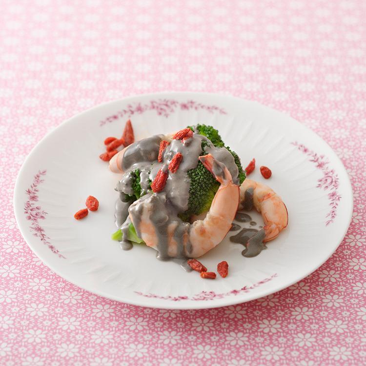 薬膳レシピ,えびとブロッコリーのごまマヨソース