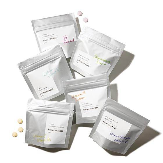 ニュートリションピース オリゴ糖&酵素、オリゴ糖&酵素、カルシウム&ビタミン D、ビタミン A&ルテイン、ビタミン C&ビタミン B2、ビタミン B群&アミノ酸
