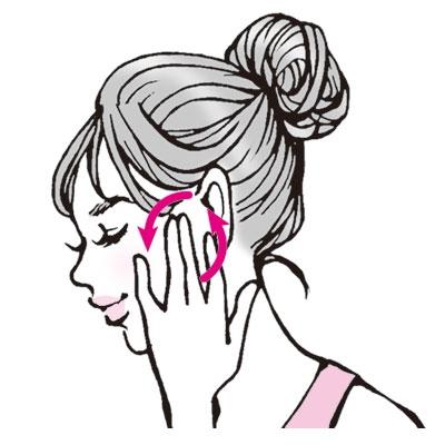 唾液腺マッサージがおすすめ/指を耳の前にあて、後ろから前に円を描くようにやさしく唾液が出るまで回す。唾液腺が刺激されて、唾液が出るようになる。